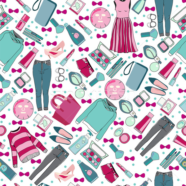 Stock photo: hand drawn fashion collection of clothes and accessories pattern