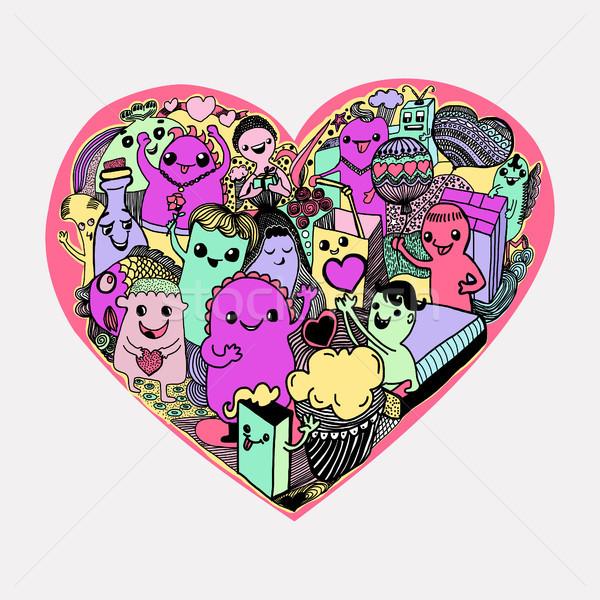 Cartoon harten patroon kawaii monsters cute Stockfoto © Margolana