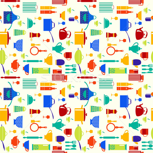 background with icons of kitchen ware and utensils  Stock photo © Margolana