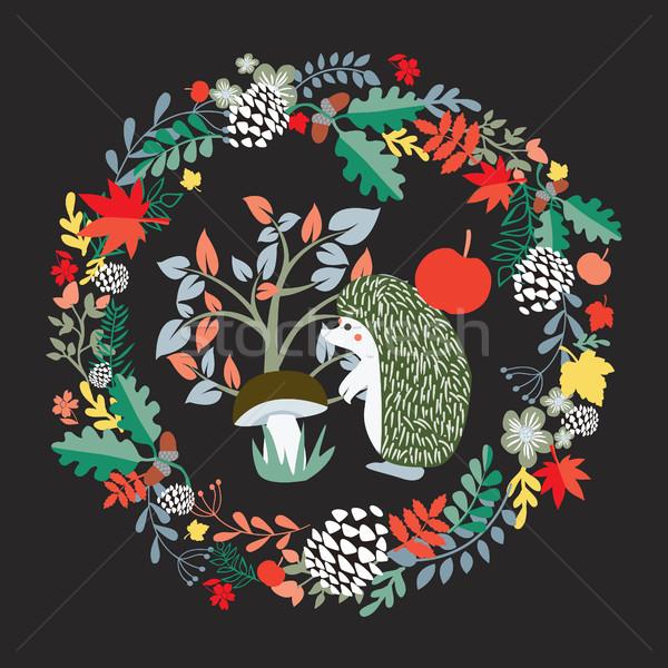 Aranyos sündisznó ősz erdő szett illusztráció Stock fotó © Margolana