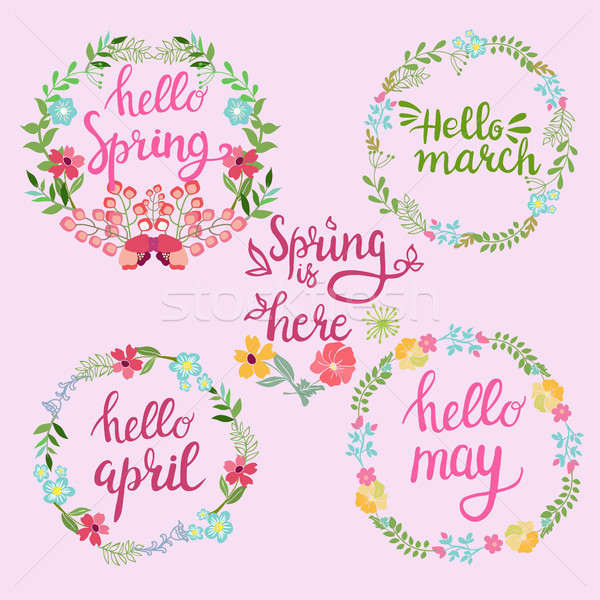 Hand drawn spring wreaths with text Hello spring, march, April,  Stock photo © Margolana