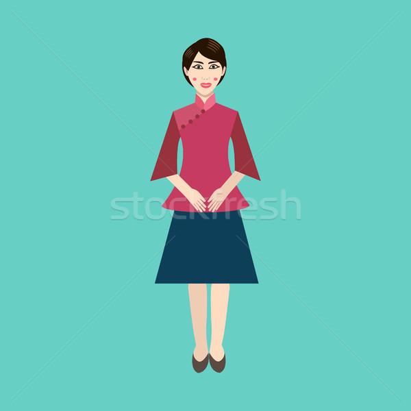 Chino mujer ropa vector icono Asia Foto stock © Margolana