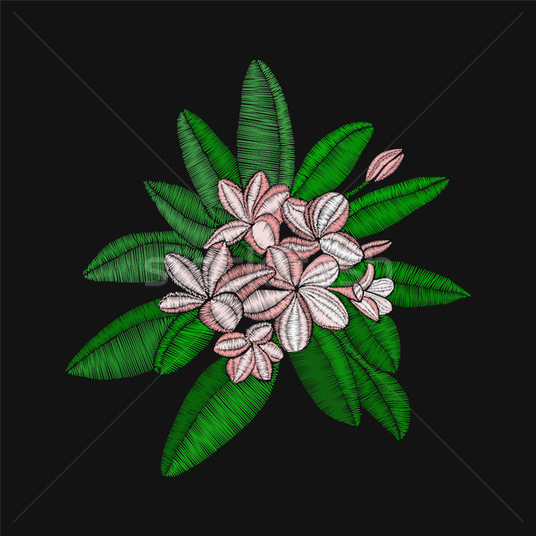 цветы вышивка листьев черный назад вектора Сток-фото © Margolana