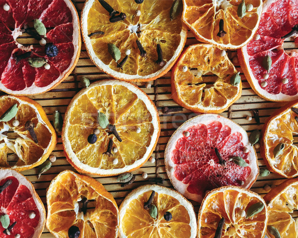 Dried slices of citrus fruits  background, orange, mandarin, gra Stock photo © Margolana