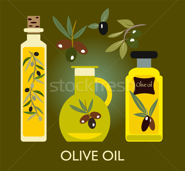 Set of the elements. Olives, olive oil, branch  Stock photo © Margolana
