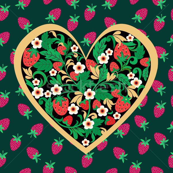 Decorative Strawberry folk ornament made of heart shape.  Stock photo © Margolana