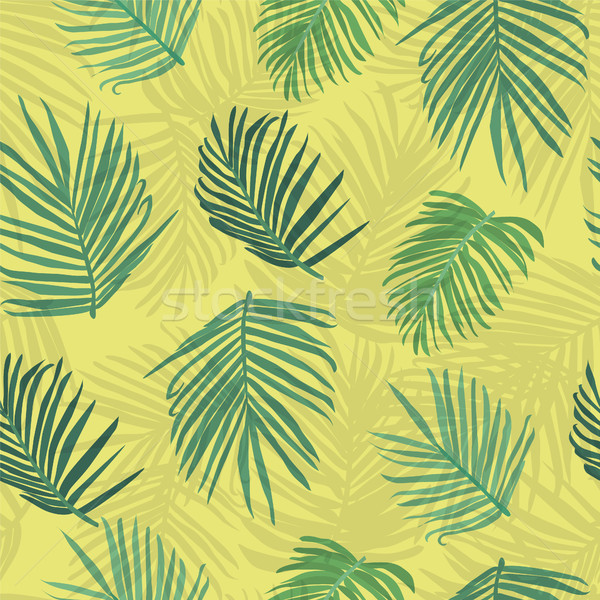 Stock photo: Tropical background palm tree leaf seamless pattern