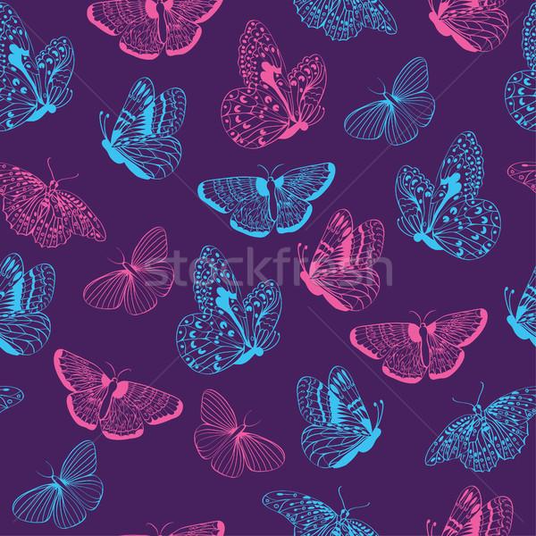 Kelebekler siluetleri şıklık kelebek mor Stok fotoğraf © Margolana