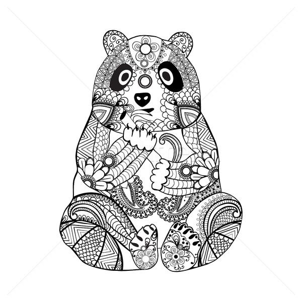 Sevimli Panda Boyama Kitabı Tek Renkli Doğa Vektör