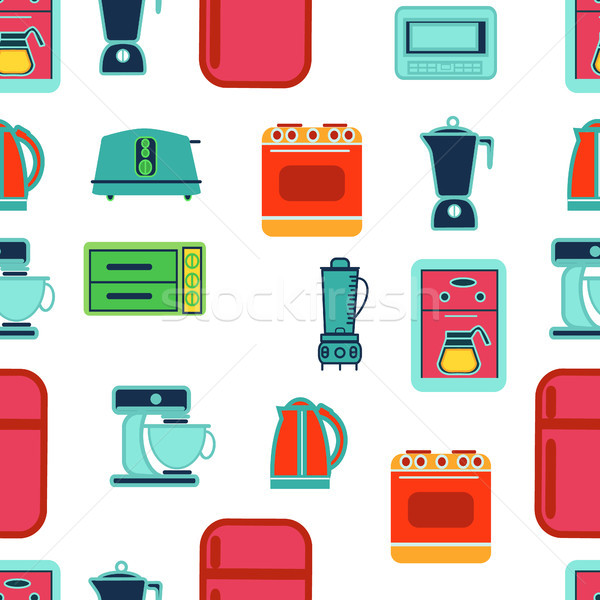 kitchen appliances seamless pattern in flat design style Stock photo © Margolana
