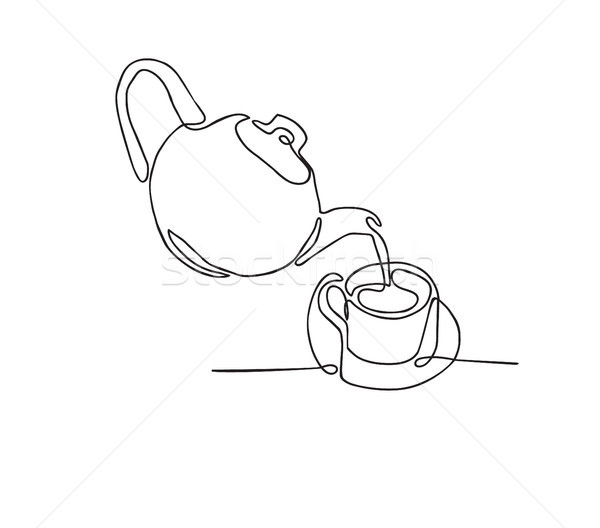 continuous line drawing of Tea pot and tea cup on a white backgr Stock photo © Margolana