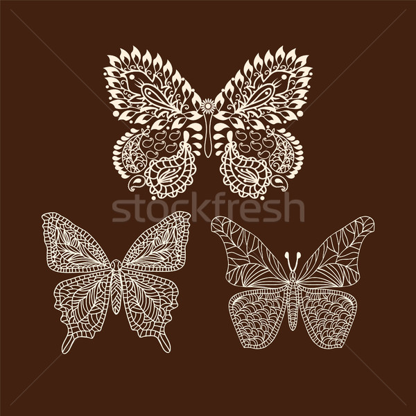 f9347ce620a51 #7456778 tattoo doodle Henna butterflies Mehndi Design Element by Margolana  Stock photo