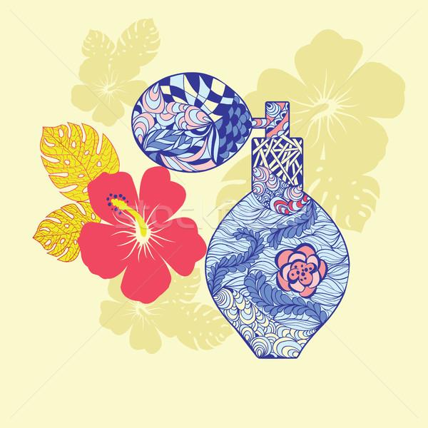 Piękna perfum butelki kwiat dekoracyjny ozdoba Zdjęcia stock © Margolana