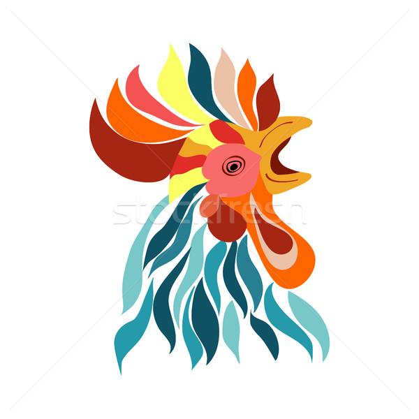Vecteur isolé coq tête décoratif logo Photo stock © Margolana