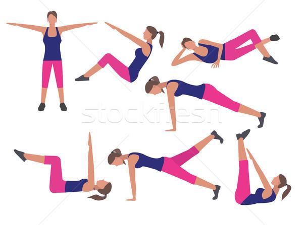 フィットネス トレーニング 行使 セット アイコン スタイル ストックフォト © Margolana