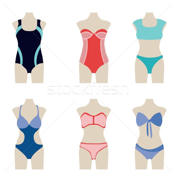 Moda toplama yüzme suit vektör yaz Stok fotoğraf © Margolana
