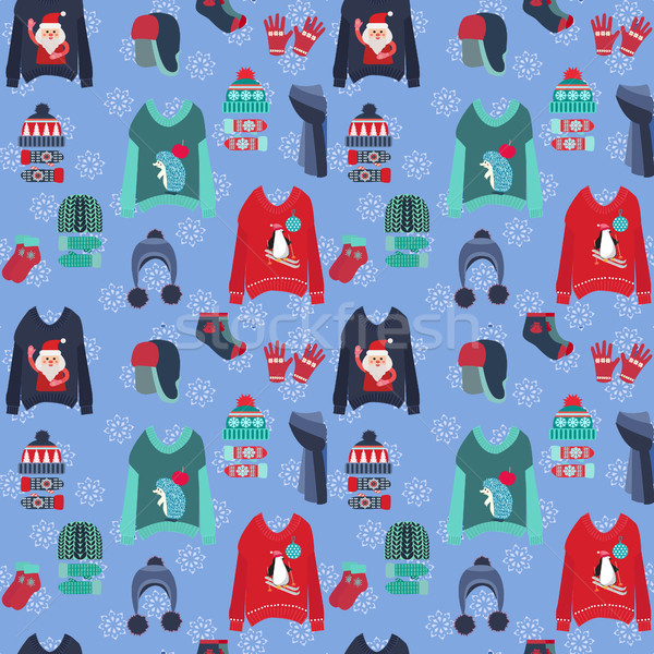 Christmas background with cute ugly  sweaters, collection of kni Stock photo © Margolana