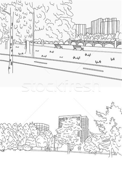 Park fiets pad paardrijden fiets grafische Stockfoto © Margolana