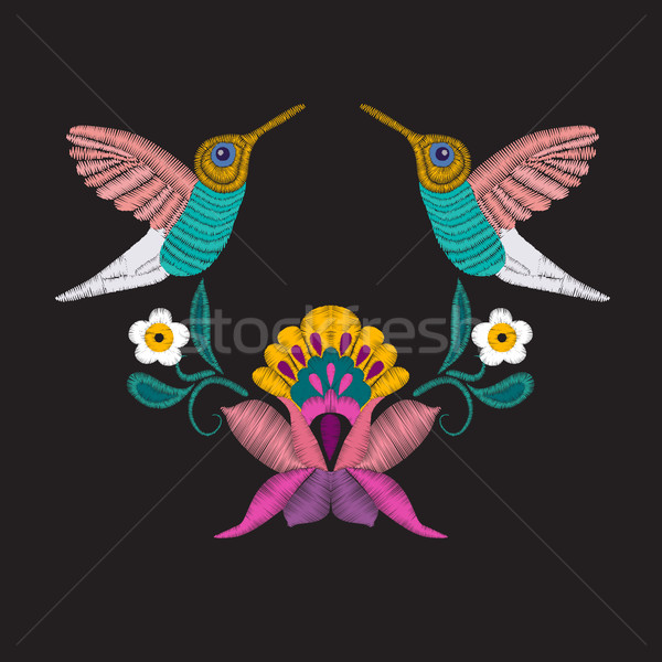Embroidered design elements with flowers and tropical bird  Stock photo © Margolana
