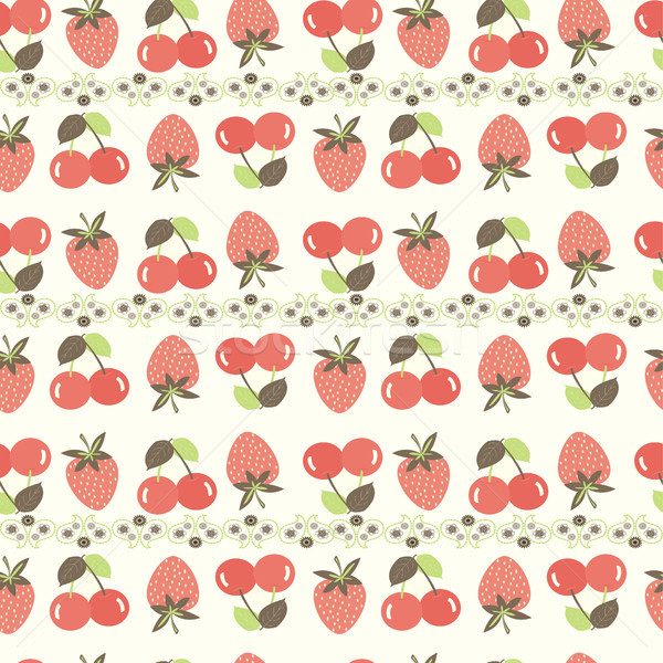 Cerise fraise modèle fraises cerises Photo stock © Margolana
