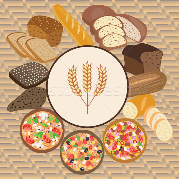 set of wheat cartoon food bread, rye bread, ciabatta, wheat brea Stock photo © Margolana