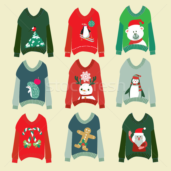 ugly christmas sweaters set sweater party collection Stock photo © Margolana
