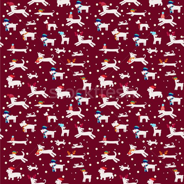 Christmas pattern with funny white dogs Stock photo © Margolana