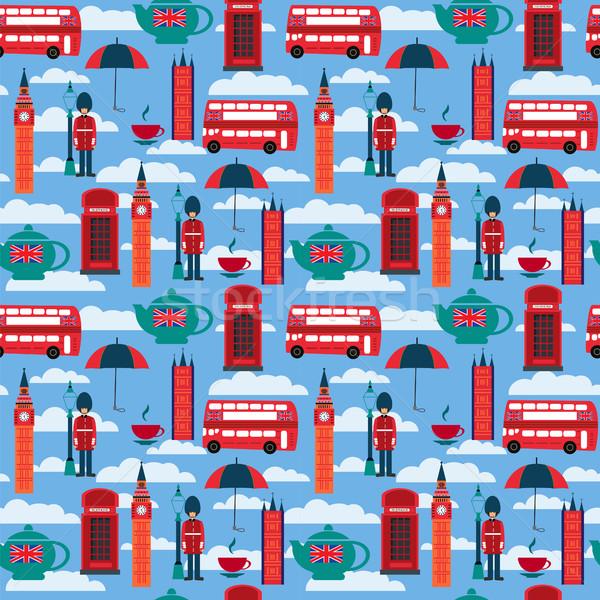 background with London landmarks and Britain symbols  Stock photo © Margolana