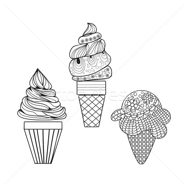 Set of delicious ice-creams doodle style. Stock photo © Margolana