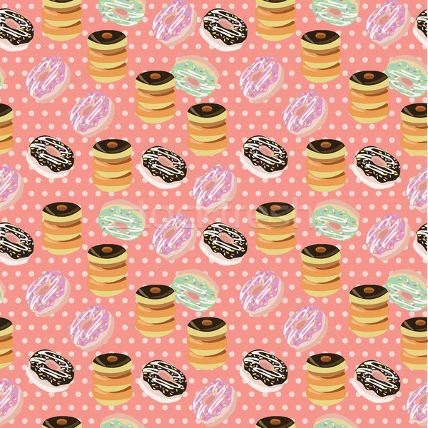 Seamless background with a pattern of donuts with chocolate.  Stock photo © Margolana