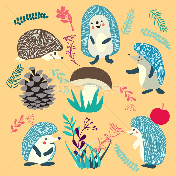 Cute Hedgehog forest animals set Stock photo © Margolana