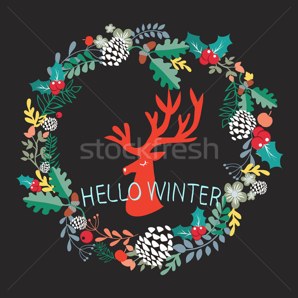 cute illustration silhouette of deer head and wreath with christ Stock photo © Margolana