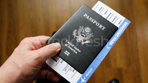 Persons hand holding a passport of United States Stock photo © Margolana