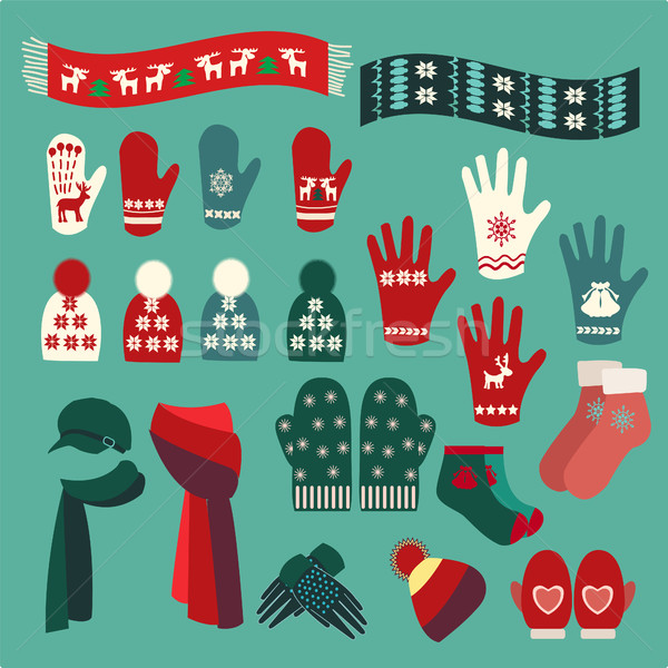 Set of cute warm Christmas mittens, stockings and hats  Stock photo © Margolana