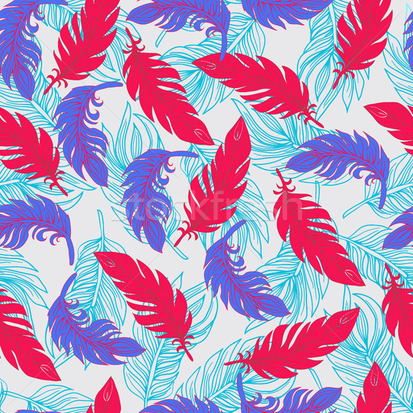 Ethnic seamless pattern with Feathers Boho style Stock photo © Margolana