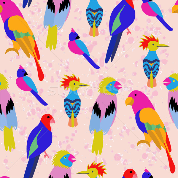 Exotic tropical birds paradise parrot, toucan pattern. Stock photo © Margolana