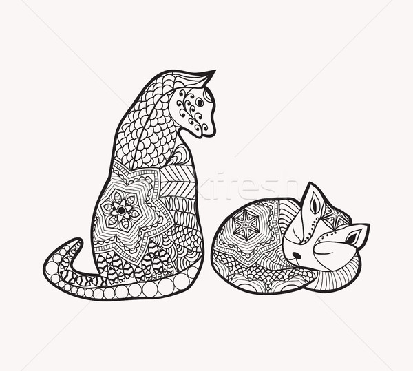 decorated cartoon cat and kitty Stock photo © Margolana