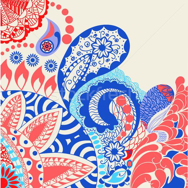 花 パターン 装飾的な いたずら書き カラフル ベクトル ストックフォト © Margolana