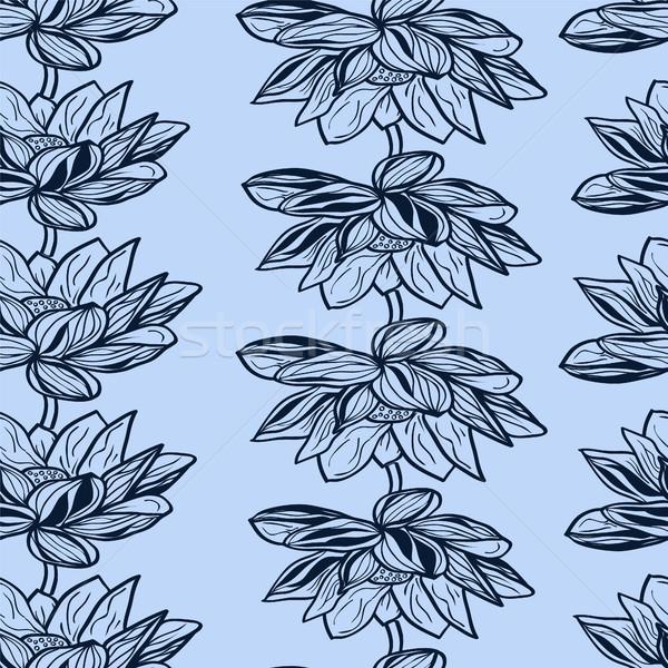 フローラル パターン 手描き 蓮 花 美しい ストックフォト © Margolana