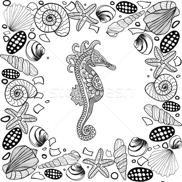 Decorative sea horse and seashells frame. Stock photo © Margolana