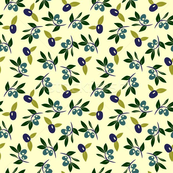 Vector de oliva rama sin costura retro decorativo Foto stock © Margolana