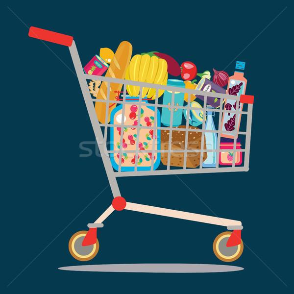 スーパーマーケット ショッピングカート フル 製品 魚 ストックフォト © Margolana