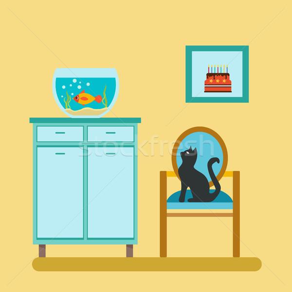 Aquarium on shelf and cat Stock photo © Margolana