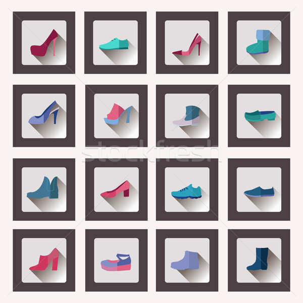 flat style collection, women and men shoes set Footwear  Stock photo © Margolana