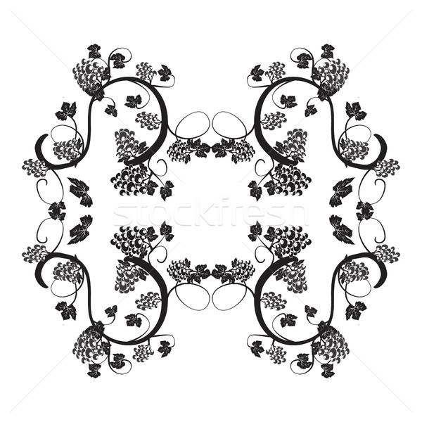 Stock photo: illustration with  elegant vines and bunches of grapes frame