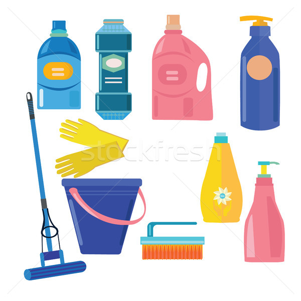 Vektör ayarlamak temizlik araçları ev elemanları Stok fotoğraf © Margolana