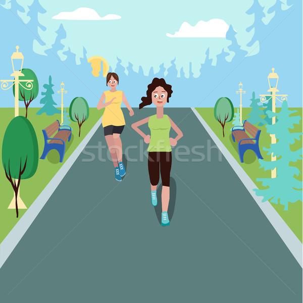 女の子 ジョギング 公園 スタイル 女性 を実行して ストックフォト © Margolana