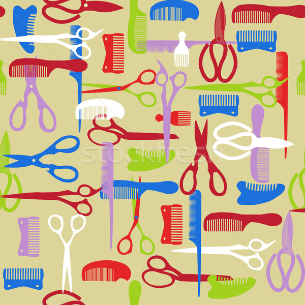 pattern of barber element. haircutting tool Stock photo © Margolana