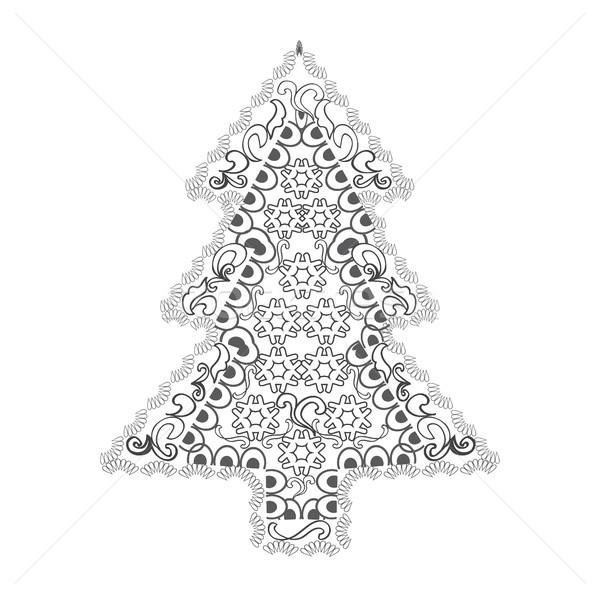 Christmas tree in zentangle style Stock photo © Margolana