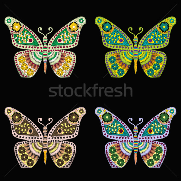 set of Embroidery pattern with butterfly on black background Stock photo © Margolana